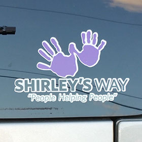Shirley's Way decal-Cancer Sucks logo-Shirley's Way-Cancer Sucks-Help with bills-People Helping People-goHaffers-Split the pot-Queen of Hearts